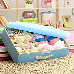 Styleys 15+1 Multi Compartment Cell Foldable Storage Box / Closet Organizer / Non-Smell Drawer Organizer, 15 grids + 1 for Drawer Divider for Socks, Bra, Panty, Tie, Scarf, etc - Color - Blue