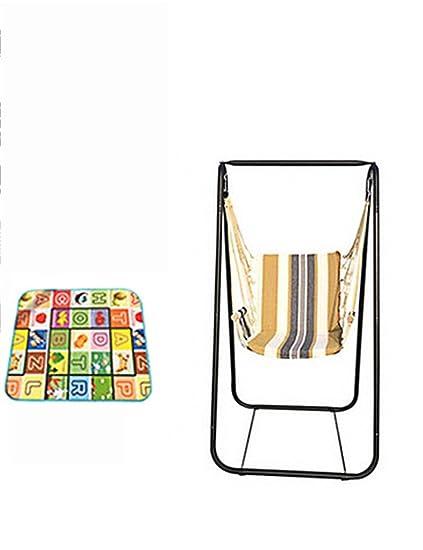 Hamaca de ocio al aire libre - Con armazón de hierro lona individual sillas colgantes casa interior adulto oscilación balcón al aire libre mecedora hamaca --Una hamaca cómoda y ligera ( Color : 6 )