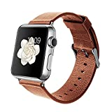 Orzly® - DESIGNER STRAP for APPLE WATCH 42MM - BROWN FAUX LEATHER - Made by Orzly® specifically for use with the AppleWatch (Fits 42mm Version of BASIC Model and EDITION Verson, but NOT FOR SPORT Model)