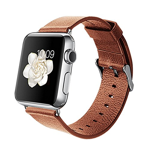 Orzly® - DESIGNER STRAP for APPLE WATCH 38MM - BROWN FAUX LEATHER - Made by Orzly® specifically for use with the AppleWatch (Fits 38mm Version of BASIC Model and EDITION Verson, but NOT FOR SPORT Model)