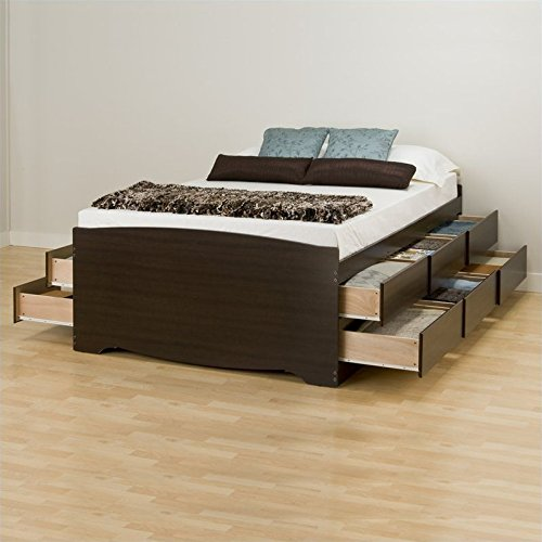 Espresso Tall Double Platform Storage Bed (12-drawers) By Prepac
