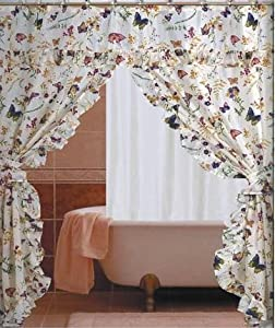 Amazon.com - Butterfly Floral Double Swag with Valance Tie backs ...