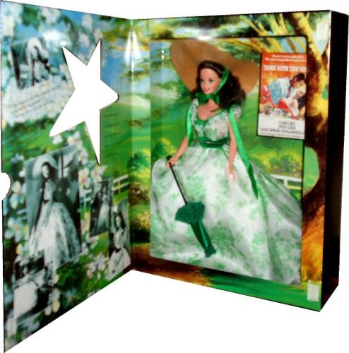Barbie 1994 Hollywood Legends Collection From Gone With The Wind Movies 12 Inch Doll - Barbie as Scarlett O'Hara at Wilke's Barbeque with Gown with Hoop Skirt, Pantaloons, Parasol, Hat, Shoes and Doll Stand