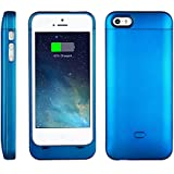 [Apple-Certified] EasyAcc® B5 MFi 2200mAh Ultraslim iPhone 5 5s Battery Charging Case, Rechargeable Extended Protective Battery Case for iPhone 5 5s, Original Lightning Charging Plug, Metal Blue [24-Month Warranty]