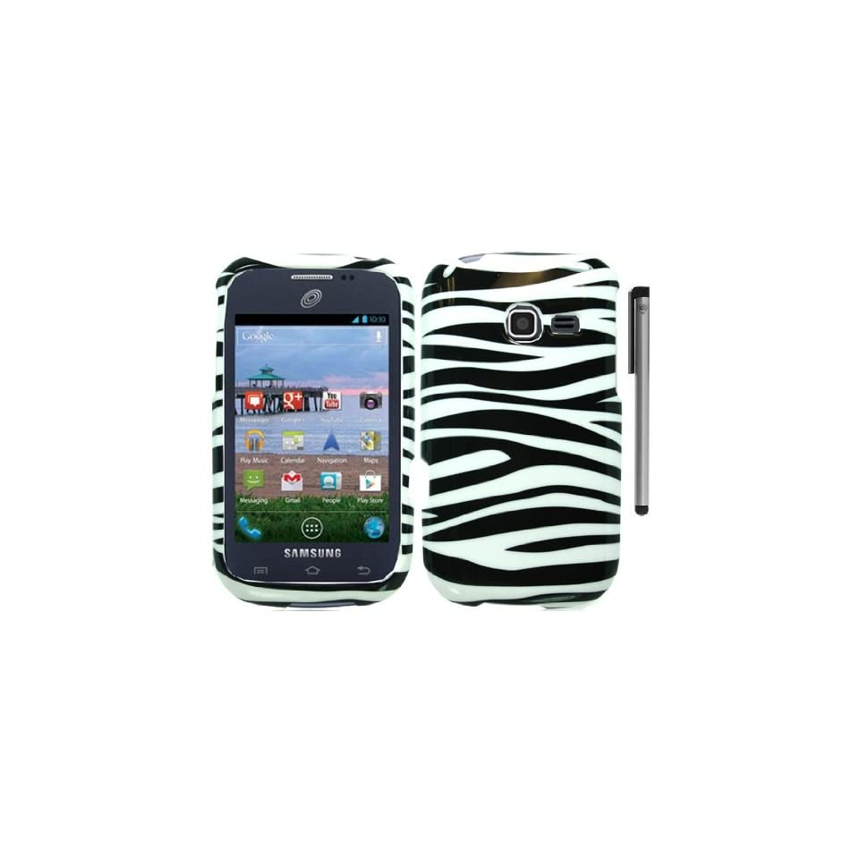Black White Zebra Design Hard Cover Case with ApexGears Stylus Pen for Samsung R480C by ApexGears Cell Phones & Accessories