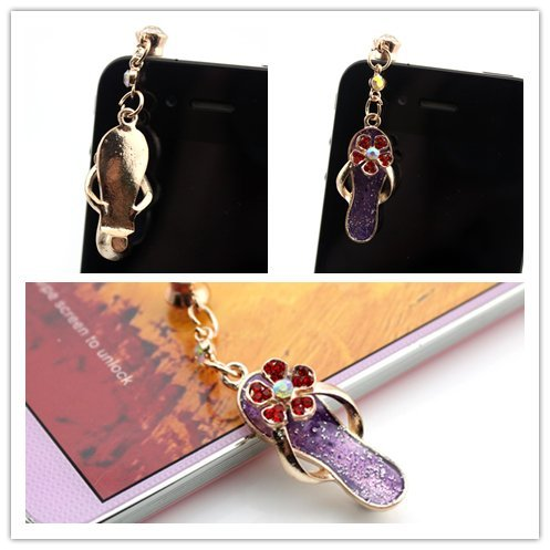 Nine States Diamond Bling Sexy Slippers Design 3.5Mm Anti-Dust Earphone Jack Plug Charm For Apple Iphone5 5S Iphone4/4S Itouch4 Itouch5 And Samsung Galaxy S2/S3/S4 Note3 Note2 Sony Htc Blackberry Color Varies Purple
