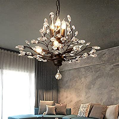 UZI-Lights American vintage crystal chandelier creative personality Cafe bedroom study lamp chandelier diameter industrial wind 620mm high 460mm , Black