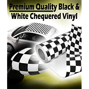 TIS (TM) 1000mm x 1500mm Chequered / Check Vinyl - Black and White. Car Roof Wrap, Stripes, Tape, Mirror Covers, Door Handles. Air Drain Film - Car Wrap Vinyl Sticker Sheet. Bubble Free, 0.20mm thick, Dry Glue Technology