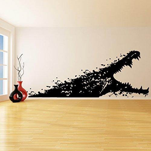 80 x 31 cm) avec Sticker Mural en vinyle effet Alligator bouche ouverte/mer décoration de salle de bain Décor cosmétiques de baignoire, Crocodile Sticker Mural en vinyle libre cadeau aléatoire