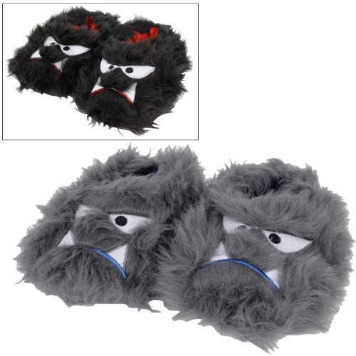 Childrens Cosy Faux Fur Padded Fun Novelty Monster Slippers Black Grey Kids Size