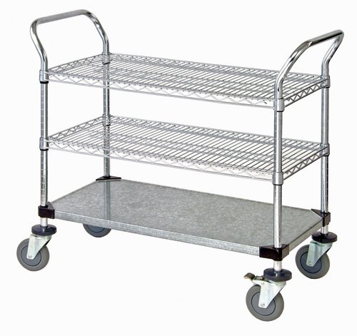Quantum Storage Systems WRC-1836-3CG 3-Tier Wire Utility Cart, 2 Wire and 1 Solid Shelf, Chrome Finish, 18