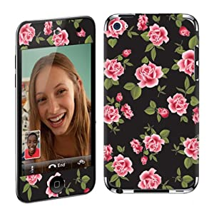 Apple iPod Touch 4G (4th Generation) Vinyl Protection Decal Skin Black Rose Garden