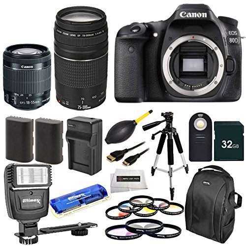 Canon-EOS-80D-DSLR-Camera-Body-Canon-EF-S-18-55mm-IS-STM-Canon-EF-75-300mm-f4-56-III-9-Pcs-Filter-Kit-UV-CPL-FLD6pc-Gradual-Filter-Kit-58MM-32GB-Memory-Card-Auto-Power-Flash-21-PCS-Accessory-Bundle