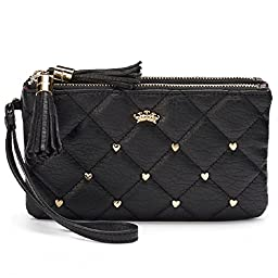 Juicy Couture Quilted Heart-Studded Wristlet - Black