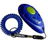 Dogsline Profi Clicker mit keyfix Spiralarmband für Clickertraining , blau , DL04PS