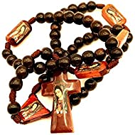 Large Brown Varnished Chorded Wood Rosary for Display, Meditation, and Prayer