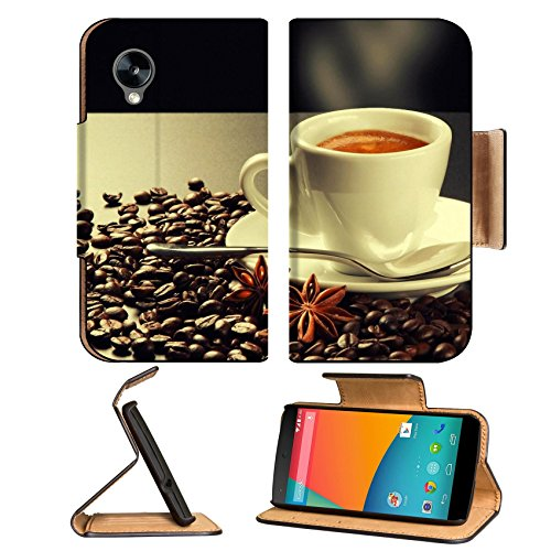 Hot Steam Coffee Beans Cup Google Nexus 5 Hammerhead Lg Flip Case Stand Magnetic Cover Open Ports Customized Made To Order Support Ready Premium Deluxe Pu Leather 5 11/16 Inch (145Mm) X 2 15/16 Inch (75Mm) X 9/16 Inch (14Mm) Msd Nexus Cover Professional N front-620548