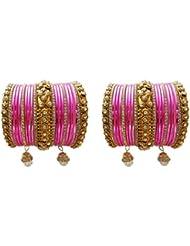 Bridal Chura Pink Wedding Bangles Chuda By My Design(size-2.8)