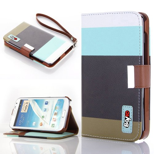Bayke Brand / Samsung Galaxy Note 2 Note Ii N7100 Fashion Designer Colorful Pu Leather Wallet Case With Strap With Stand With Magnetic Clip Credit Card Slots & Holder (Sky Blue+Black+Olivedrab)