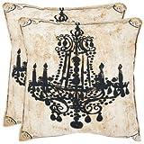 Safavieh Pillows Collection Velleron Decorative Pillow, 18-Inch, Beige, Set of 2