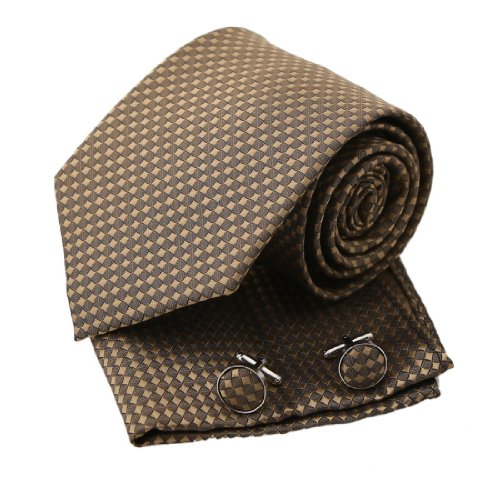 Brown Checkered Woven Silk Tie Hanky Cufflinks Gift Box Set rosy brown great gifts Pointe Tie PH1099