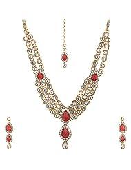 Lucky Jewellery Maroon Gold Plated Kundan Jewellery Set For Women - B00SINFBAK