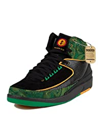 Nike Mens Air Jordan 2 Retro High DB Doernbecher Black/Pro Gold-Lucky Green Leather