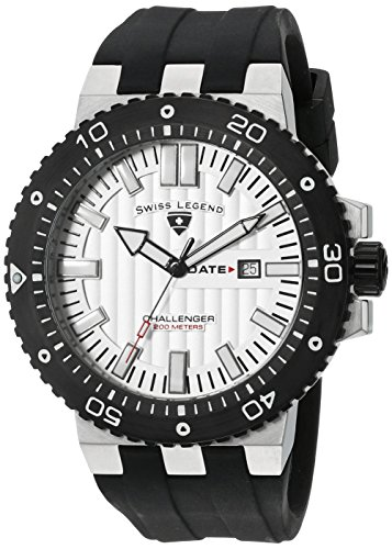SWISS LEGEND Challenger 10126-02S-BB 50 Stainless Steel Case Rubber Anti-Reflective Sapphire Men's Quartz Watch