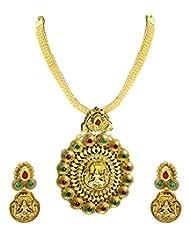 Zaveri Pearls Temple Shilp Shastra Goddess Long Antique Necklace Set-ZPFK4635