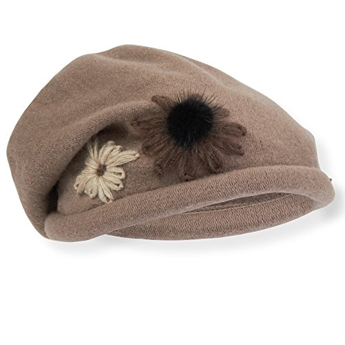 ad428-soft-wool-slouchy-beret-wih-flower-trim-and-angora-pom-trim-brown