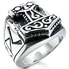 buy Bishilin Stainless Steel Mens Silver Black Retro Rings Size 14