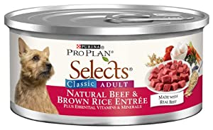 Purina Pro Plan Selects Classic Adult Dog Food, Natural Beef and Brown Rice Entrée, 5.5-Ounce Cans (Pack of 24)