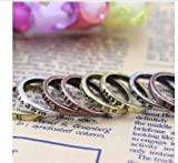 niceEshop(TM) 1 Set (8pcs) Vintage Fashion Mixed Charms Lettering Wishing Ring Rings-Copper&Silver&Gold