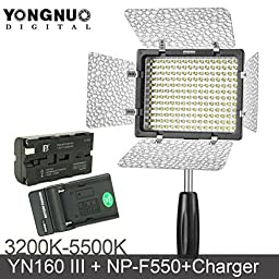 Kumiba Yongnuo YN160 III 3200-5500K CRI95 160 LED Video Light with 2200mAh Brand Battery & Charger