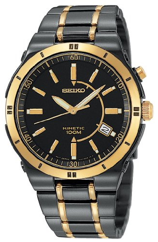 Men's Seiko® Black Ion Kinetic Watch