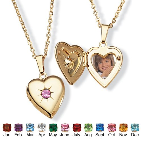PalmBeach Jewelry Goldtone Birthstones Simulated Heart Locket- June- Simulated Alexandrite