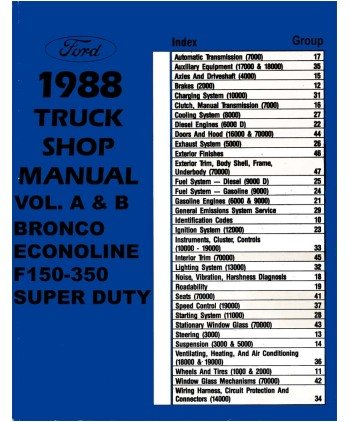 1988 ford truck f150 f350 econoline service manual. Black Bedroom Furniture Sets. Home Design Ideas