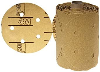 "3M Stikit Paper D/F Disc Roll 236U, PSA Attachment, Aluminum Oxide, 5"" Diameter, P80 Grit (Roll of 100)"