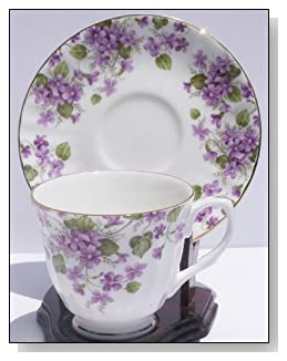 Fine Bone China Cup and Saucer Purple Violet Chintz