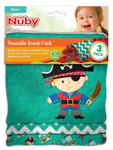Nuby Reusable Sandwich And Snack Bags Set - 3 Pack - Pirate