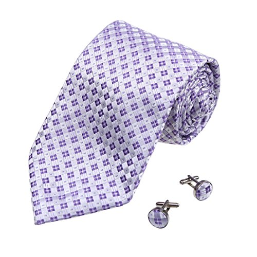 A2110 Medium Purple Checkered Gift Certificate Gift Idea One Size Silk Ties Cufflinks Set 2PT By Y&G
