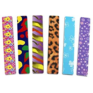 "6pc Jumbo Nail File Board Set - 7"" x 28mm - 2-Sided - Fun Patterns!"
