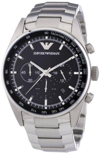 Emporio Armani AR5980 - Reloj cronógrafo de cuarzo para hombre con correa de acero inoxidable, color plateado