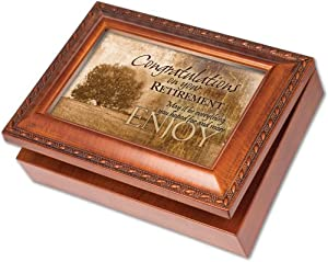 cottage garden congrats retirement woodgrain music box jewelry box plays wonderful. Black Bedroom Furniture Sets. Home Design Ideas