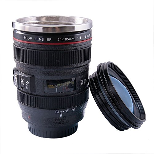Happy Hours - Leakage-proof 400ML Canon 24-105 Camera Zoom Lens Cup Travel Coffee Mug Outdoor SLR Camera 4-105 Lens Shape Unique Water Thermos with Drinking Lid and Bag Quality Stainless Steel Interior (Black)