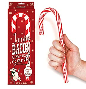 Jumbo Bacon Flavored Candy Cane Novelty Stocking Stuffer, 3.1 oz