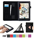 "Polatab 10.1 Case, Fyy® Premium Leather Case Stand Cover with Card Slots, Pocket, Elastic Hand Strap and Stylus Holder for 10.1"" Android Tablet inclu. 2014 NEW iRulu 10"" A31S/ iRulu 10.1"" A20, iRulu X1s 10.1"", Dragon Touch A1X Plus/ A1X/ A1 10.1"", NeuTab N10 10.1"", Contixo Q102 10.1"", Poofek 10.1 inch Google Android Tablet 32GB / A31S, Tagital T10 10.1"", ProntoTec Nepro 10S 10 inch, Polatab Elite Q10.1, ValuePad VP112 10"", Shamo's New 10.1"", Epassion E1 10.1"", TouchTab 10.1"", Amar 10.1"" Black"