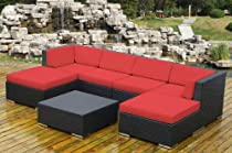 Big Sale ohana collection OPN7036R Genuine Ohana Outdoor Patio Wicker Furniture 7-Piece All Weather Gorgeous Couch Set with Free Patio Cover