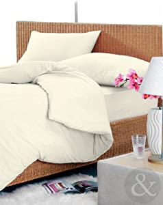 100% COTTON DUVET COVER Luxury Plain Bedding Flannelette Quilt Covers Bed Set Cream King Size Duvet Cover ( kingsize ) bed
