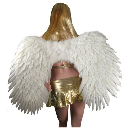 SACAS Super Large White Feather Angel wings w/ Halo for Adults, Men or Women